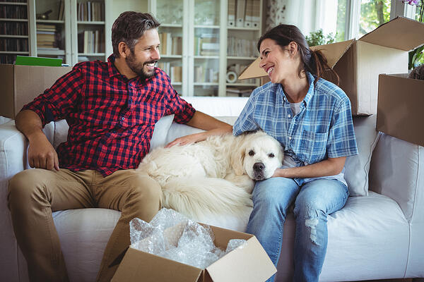 Couple sitting on sofa with their pet dog in their new house-1